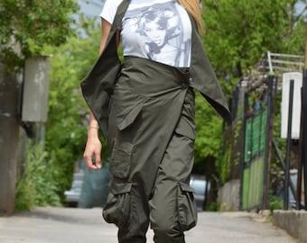 Loose Military Cotton Set, Harem Women Pants, Casual High Waist Pants, Waistcoat, Oversize Plus Size Vest by SSDfashion