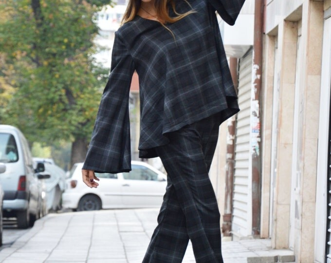 Shepherd's Plaid Wool Cotton Shirt And Pants, Extravagant Csual Set, Autumn Harem Pants, Loose Maxi Shirt By SSDfashion