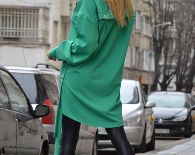 Plus Size Women's Tunic, Extravagant Asymmetrical Long Tunic, Maxi Tunic Dress, Summer Dress, Green Dress by SSDfashion