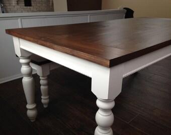 """Dark Walnut Farm House Table with 3.5"""" Legs!!! Up To 9' Length!!!"""