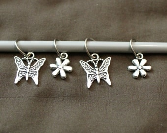 Butterflies and Flowers  Stitch Markers up to 10mm Needle TamsCraftyKnits