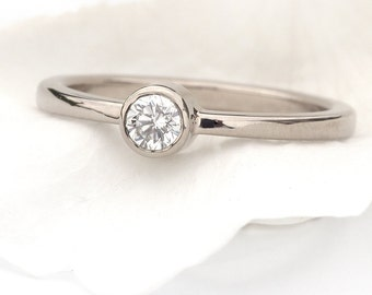 Diamond Engagement Ring in 18k White Gold, Eco Friendly, Handmade to Size