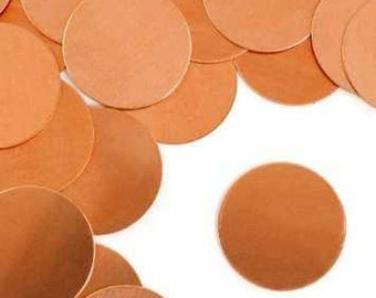 Copper Stamping Blanks Metal Stamping Blanks No Hole 1 inch Blanks Real Copper 24 Gauge Circle Blanks 4 pieces