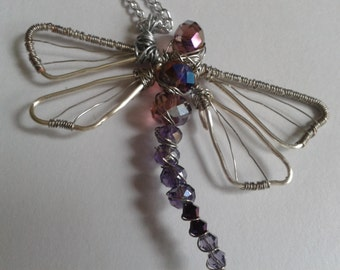 Purple and Silver Wire Wrapped Beaded Dragonfly Pendant