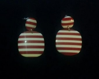 Red & White Candy Stripe Drop/Dangle EARRINGS Handcrafted Costume Jewelry