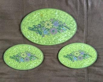 Floral Glass Tempered Trivet Set of 3