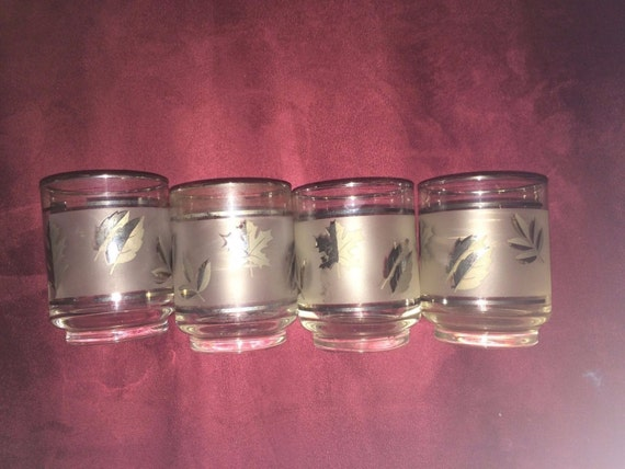Set 4 Libby's Frosted Silver Platinum Leaf 8 oz Rocks Tumbler Glasses