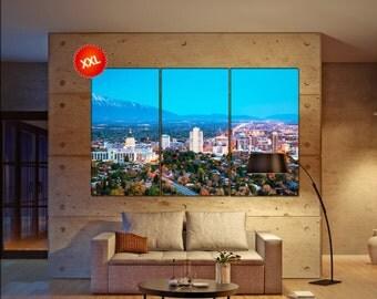 Salt Lake City Skyline  canvas skyline Salt Lake City wall decoration Salt Lake City canvas art  decor canvas art