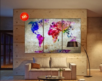 World map wall art print prints on canvas large world map wall art art work artwork office decor