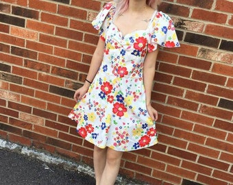 1970s white dress with multicolored floral print