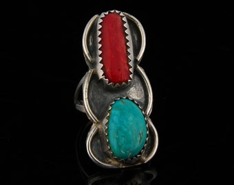 Vintage Southwestern Sterling Silver Coral and Turquoise Native American Ring