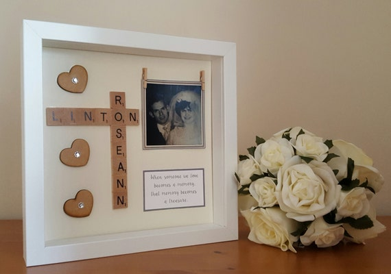 memory frame personalised scrabble style memory box frames personalised with your own verse