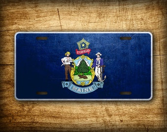 Maine State Flag License Plate ME Official Flag Symbol Auto Tag 6x12 Aluminum Metal Sign