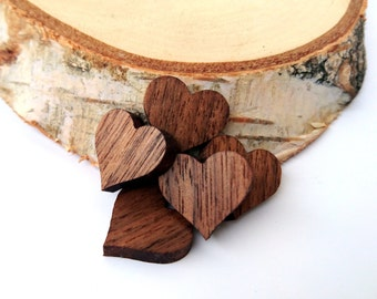5x Small Wooden Hearts, Walnut Wood, Buyers gifts, Friends gifts, Environmental Friendly Green materials
