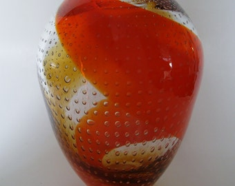 Orange Swirl Art Glass Vase