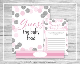 Pink and Silver Baby Shower Guess The Baby Food Game - Printable Baby Shower Guess The Baby Food Game - Pink and Glitter Baby Shower - SP123