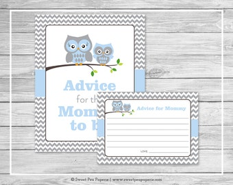 Owl Baby Shower Advice for Mom Cards - Printable Baby Shower Advice Cards - Blue Owl Baby Shower - Owl Shower - Advice for Mom to Be - SP135