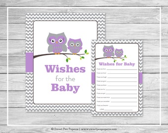 Owl Baby Shower Wishes for Baby Cards - Printable Baby Shower Wishes for Baby Cards - Purple Owl Baby Shower - Baby Wishes - Owl Baby- SP136