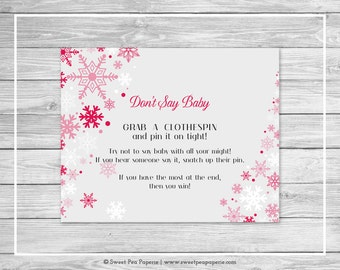 Winter Wonderland Baby Shower Don't Say Baby Game - Printable Baby Shower Don't Say Baby Game - Winter Wonderland Baby Shower - SP115