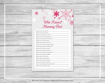 Winter Wonderland Baby Shower Who Knows Mommy Best Game - Printable Baby Shower Who Knows Mommy Best - Winter Wonderland Baby Shower - SP115