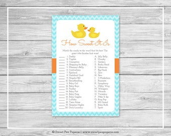 Rubber Ducky Baby Shower How Sweet It Is Game - Printable Baby Shower How Sweet It Is Game - Rubber Duck Baby Shower - How Sweet Game- SP122