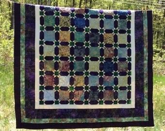 Purple & Green Batik Quilt