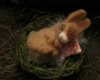 needle felting little Bunny in the nest.