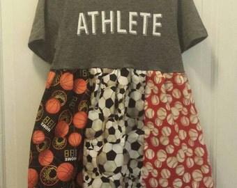 Athlete dress. Handmade. Girls sports dress. Size 7/8. Baseball. Basketball. Soccer.