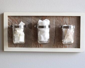Shabby Mason Jar Reclaimed Wood Wall Organizer