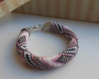 Bracelet with beads, bead crochet bracelet cord female bracelet pink bracelet, beaded jewelry, knitting crocheting