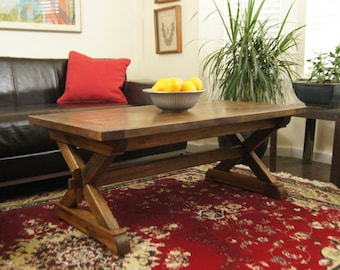 Large Coffee Table Made with Solid, Reclaimed Oak, Trestle Style