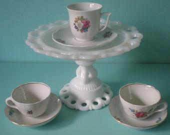 Wedding/Baby Shower Cake Stand/Dessert Pedestal/Cupcake Stand, Milk Glass. Baby First Birthday Smash Cake Plate