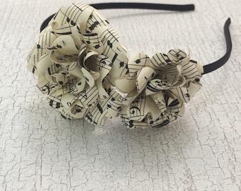 Headband Headpiece - Flower headband, New or Vintage Music Sheet, Flower Girl, Musician, Paperflower, Hair Accessory, Bridal