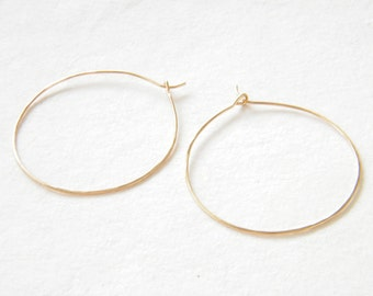 Hammered gold filled hoop earrings, Minimalist hoops, Delicate hoop earrings, Minimalist hoop earrings, Gold-filled hoops, Dainty hoops.