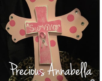 Hand Painted Breast Cancer Survivor Cross