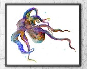 Art Print Octopus Watercolor Painting, Watercolor Art Print, Watercolor Illustration Colorful Home Wall Decor - 144