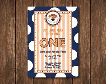 Our Little Tiger - Auburn Birthday Invitation