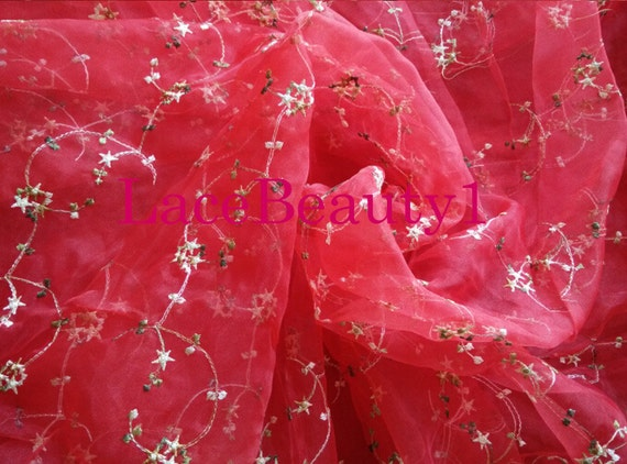 Red organza with embroidery flowers venice floral