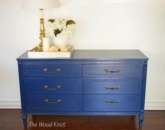 sold navy blue dresser and brass original by thewoodknotfurniture. Black Bedroom Furniture Sets. Home Design Ideas
