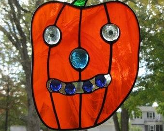 "HOLIDAY FUN, GRANDMA'S Pumpkin Pie, Friendly Fun Stained Glass Suncatcher 7 1/2""x10"", Hanging Hardware Included, U.S. Artist made © 2015"