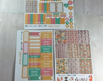 Planner Stickers-Wood Floral Mini Kit