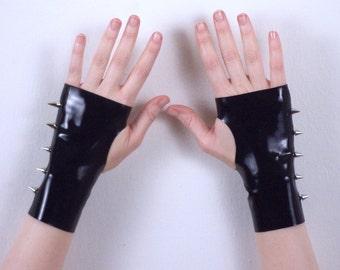 Black Latex Spike Gloves