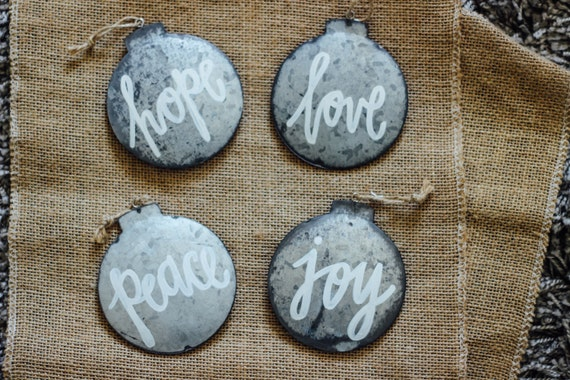 Items similar to galvanized metal christmas ornaments on etsy