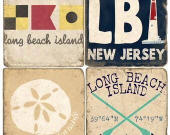 LBI Long Beach Island (set C) Italian Marble Coasters