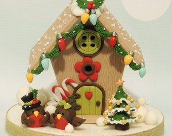 PDF Tutorial:  Christmas Birdhouse Cake Topper (Fondant) (Shereen's Cakes and Bake)