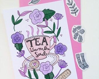 Tea warms the soul A5 print