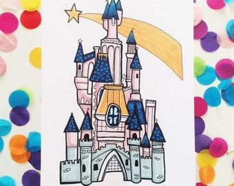 A5 Pink Princess castle print! (Unframed)