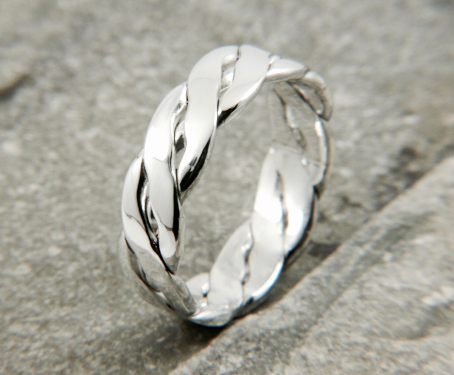 mens silver ring twisted wire wedding band ring by. Black Bedroom Furniture Sets. Home Design Ideas