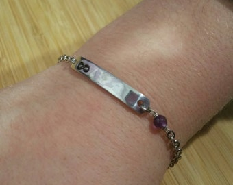 Infinity ID Bar Bracelet Custom Hand Stamped Aluminum with Amethyst and Stainless Steel Chain Personalized