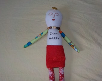 perfect looks imperfect hand made doll, positive word doll, one of a kind